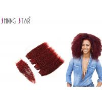 Buy cheap 99J Red Curly Weave Hair Extensions , Burgundy Natural Curly Hair Extensions product