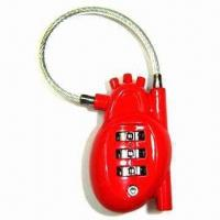 Buy cheap 3 digits heart shape combination lock with cable product