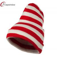 Buy quality Acrylic Beanie Winter Hats , Red White Wide Stripe Cuff Knitted Hat at wholesale prices