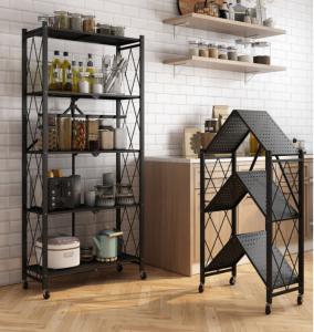 China Black white fold Light Duty Metal Frame Shelf Goods Rack for kitchen office space on sale