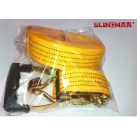 Quality 50MM Polyester Ratchet Tie Down Straps Yellow With Ratchet And Two Double J Hook for sale