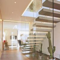 Buy cheap High quality indoor floating solid wood tread open stairs/staircases timber floating staircase product