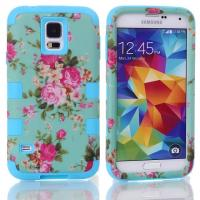 China Hybrid Cover Case Silicone For Samsung Galaxy S5 SV i9600 Orchid Flowers,6 Colors on sale