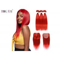 """Buy cheap 99J Red Colored Bundles With Closure Brazilian Human Hair Weave 10"""" - 26"""" product"""