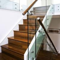 Buy cheap Modern Wood Staircase Treads With Frameless Glass Railing product
