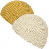 Buy cheap Yellow Acrylic Plain Knit Beanie Hats With Short Brim Adult Size product