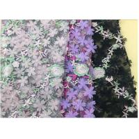 3D Flower Embroidered Stretch Mesh Fabric , Coloured Tulle Lace Fabric