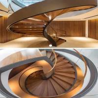 Buy cheap Decorative stainless steel beam closed riser interior round curved stairs with from wholesalers