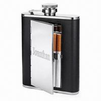 China Hip Flask with Cigarette Case, Made of Stainless Steel and Leather, Non-lead Welding on sale
