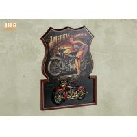 Buy cheap Pub Sign Wooden Framed Wall Hanging Plaque Resin Motorcycle MDF Wall Art Signs product