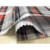 Buy cheap Yarned Dyed Fabric Synthetic Leather Fabric 0.4mm Transparent With Red / Black Grid product