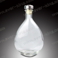 Oval Shape Clear 750ml Spirits Whiskey Glass Bottle for sale