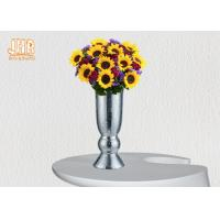 Buy cheap Indoor Small Fiberglass Planters Table Vases Silver Mosaic Glass Finish product