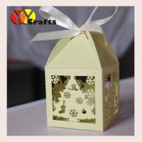 Buy quality Christmas Tree Laser cut Christmas Party Favor and gift boxes chocolate packaging boxes with ribbon at wholesale prices