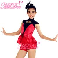 Cap Sleeves Hip Hop Dance Wear Lacing Across Middle Font Bodice With Back Centre Zipper