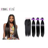 Buy cheap Double Fullness Human Hair 3 Bundles Straight With Closure 1B Long For Women from wholesalers