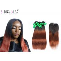 Buy cheap Long 8A Peruvian Hair Bundles With Closure Ombre Dark Roots Tangle Free product