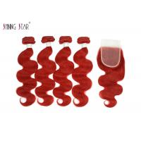 Buy cheap Vivid Red Wet Brazilian Human Hair Bundles With Closure For Women product