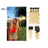 Buy cheap 1B 613 Honey Blonde Bundles With Closure Dark Roots Body Wave Colored Bundles product