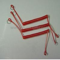 Plastic spring, red spring, plastic spiral with metal rings
