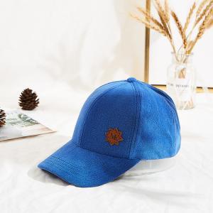 Buy cheap Custom Blue 58cm 6 Panel Baseball Caps Velcro Back Closure product