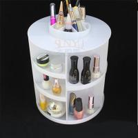 Buy cheap White Acrylic Cosmetic Counter Display Stands PMMA Cylindrical More Compartments product