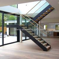 Buy cheap Modern L-shape Wood Staircase Design / Internal Used Glass Railing Wood Stairs product