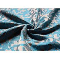 Silk Jacquard Woven Fabric For Dress , Blue Polyester Jacquard Fabric