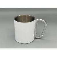 Buy cheap Stainless Steel Portable 300ml Capacity Custom Camping Mugs With Carabiner Handle product