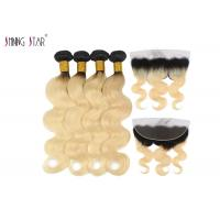 Buy cheap Long Body Wave Malaysian Hair Bundles 613 Ombre Blonde Bundles With Closure from wholesalers