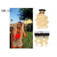 Buy cheap Honey Blonde 613 Hair Indian Hair Bundles With Frontal Body Wave Texture from wholesalers