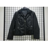 Buy cheap Black PU leather Jacket Mens Faux Leather Biker With Detachable Knit Hood product