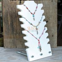 Buy cheap White Acrylic Tiered Necklace Display Stands 3mm - 7mm Hold 8 Necklace product