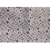 Buy cheap Water soluable golden Embroidered Rose guipure Lace Fabric Textile Design 90% Nylon 10% Lycra Spandex Knitting product
