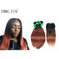 Buy cheap Ombre Dark Roots Brazilian Hair Bundles Straight Full Cuticle Aligned from wholesalers