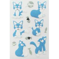 Pet Die cut Fuzzy Puffy Animal Stickers PVC For handbag little cat print