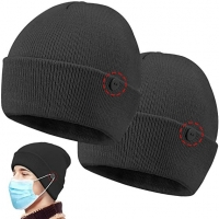 Buy cheap Custom Button 58cm Knit Beanie Hats Easy To Wear Masks product