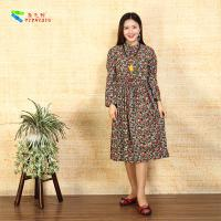 Buy cheap Square Pocket Ladies Long Sleeve Dresses Flower Base Drawstring Waist Design product
