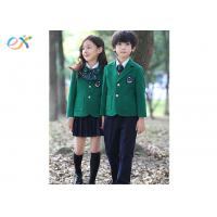 Buy cheap Polyester Fabric Children School Uniform Green Jackets Skirts And Pants product
