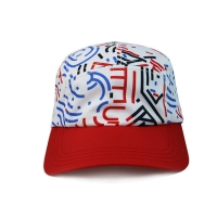 Buy cheap High Quality 5 Panel Caps sublimation pattern camper cap with polyester with nylon webbing plastic buckle product