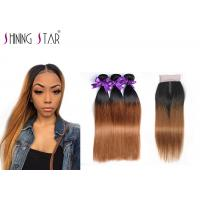 Buy cheap 3 Pcs Straight Ombre Peruvian Hair Bundles With Closure No Chemical Process product