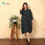 Buy cheap Handmade Button Long Sleeve Long Cotton Dress Circular Collar Cutting Pattern product
