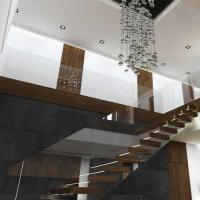 Buy cheap Prefab house Modern straight staircase with hardwood floor metal railing solid wood stairs for homes product
