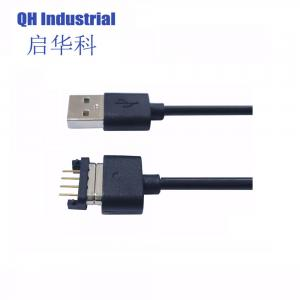 Buy cheap 2A 3A 700gf Spring force Black and White Male Female 4 Pin Magnetic Cable Connector with USB product
