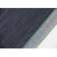 Buy cheap 14.7oz Dark Blue Stretch Denim Fabric Green Line For Women ' S Selvedge Jeans from wholesalers