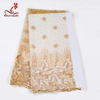 Buy cheap Multi Color Tulle Mesh Embroidered Beaded Lace Fabric Light And Transparent Texture product