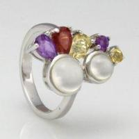 Buy quality Colored Gemstone 925 Sterling Silver Flower Ring at wholesale prices