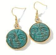 "Buy quality Carol Brodie Carved Gemstone Vermeil ""Moon Face"" Drop Earrings at wholesale prices"