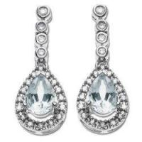 Buy quality 14k White Gold Aquamarine and Diamond Drop Earrings at wholesale prices