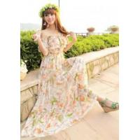 Buy cheap New Women Flounce Off Shoulder Beach Boho Maxi Dress from wholesalers